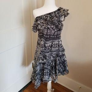 Gray Tribal Print One Shoulder Dress